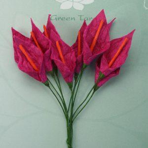 Green Tara  - Calla Lillies - Cerise with Orange Stamen