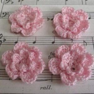 Crochet flower 3cm - Pink