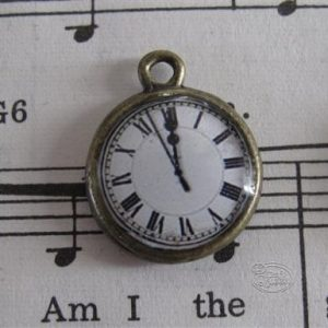 Clock Charm - White