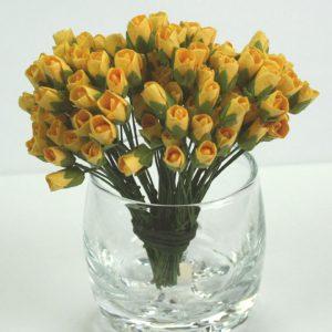 Green Tara - Paper Flowers - Mini Rose - Yellow