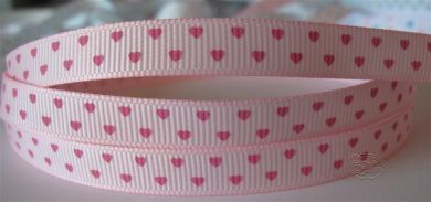 Pink grogsgrain ribbon with hearts
