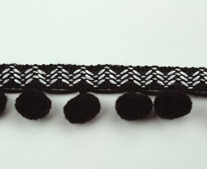 Pom Pom- Green Tara Ribbon 20mm  - Black