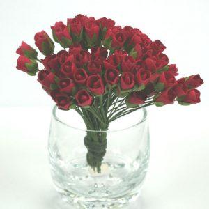 Green Tara - Paper Flowers - Mini Rose - Red