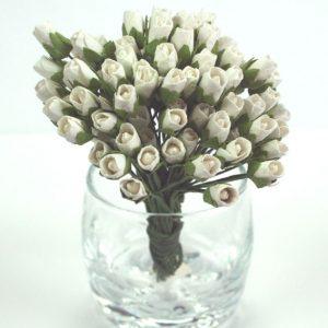 Green Tara - Paper Flowers - Mini Rose - White