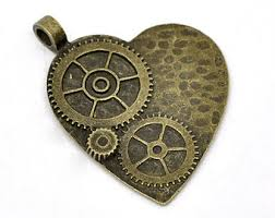 Bronze Charm - Speampunk Heart with Cogs