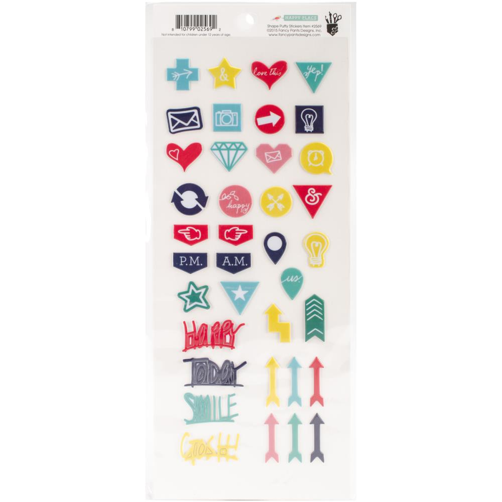 Fancy Pants - Happy Place - Puffy Stickers Shapes