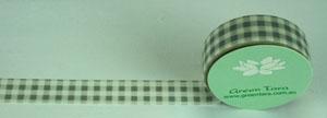 Green Tara - Washi Tape - Gingham Grey