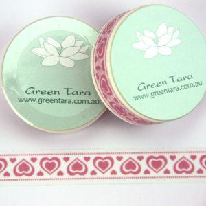 Green Tara - Washi Tape - Pink large & Small Hearts