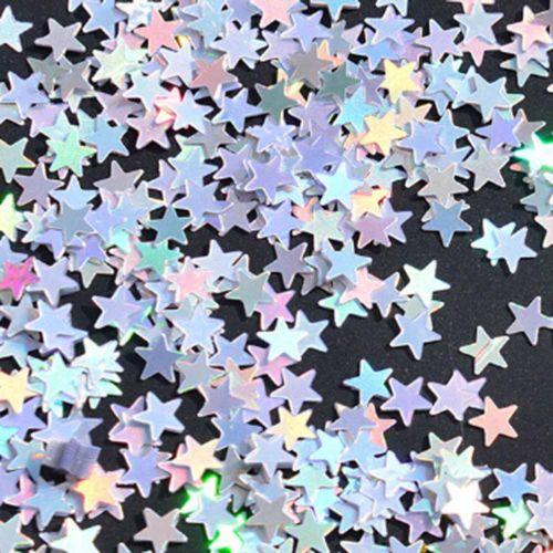 Star Confetti 6 mm -  Sparkling Silver