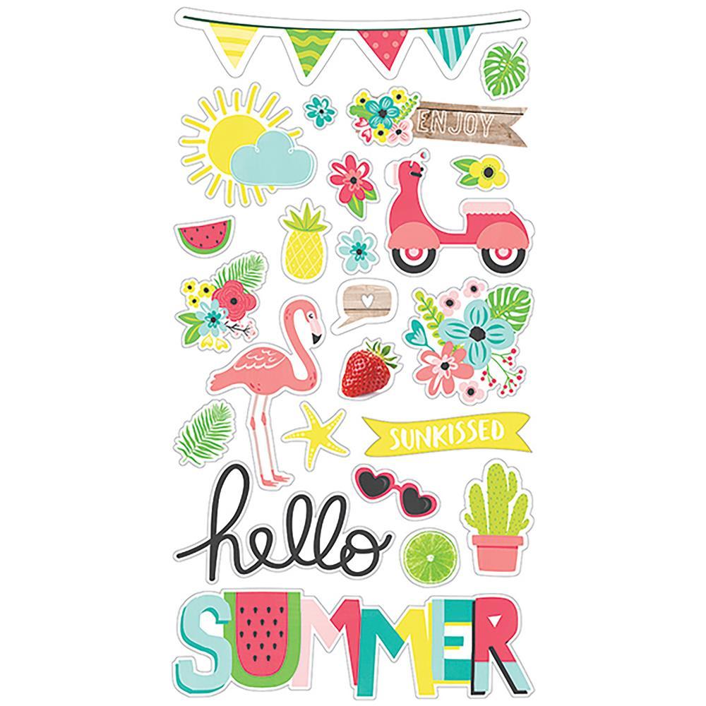 Simple Stories - Hello Summer - Chipboard Stickers