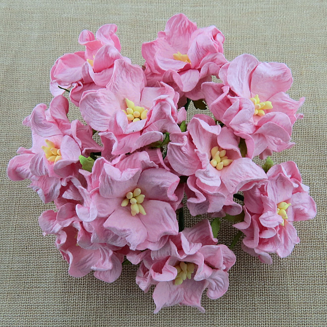 Mulberry Flowers - Gardenia - Med 3.5cm - Baby Pink