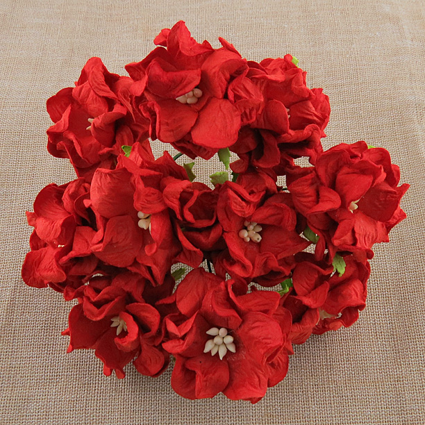 Mulberry Flowers - Gardenia - Med 3.5cm - Red