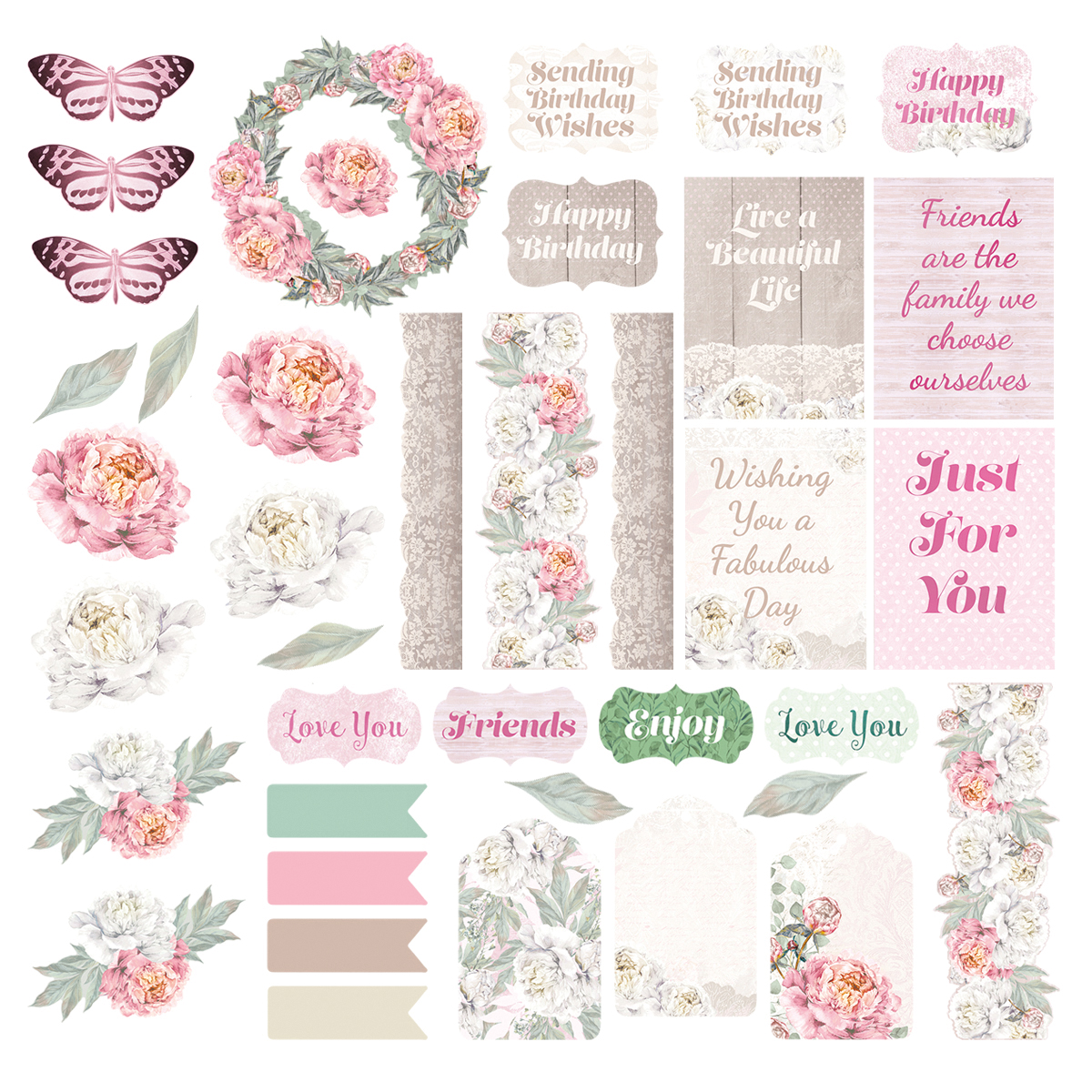 Couture Creations - Peaceful Peonies - Ephemera Pack