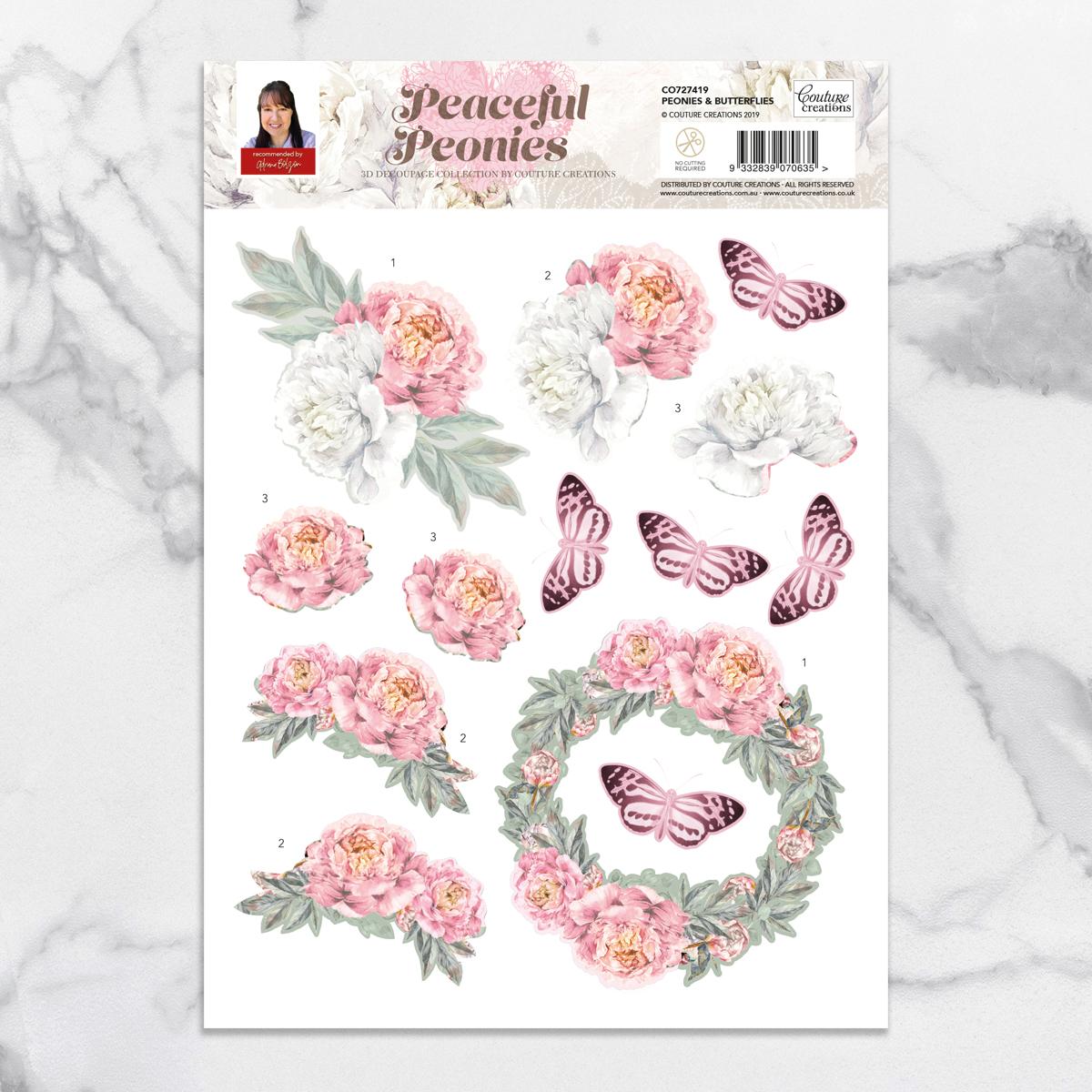 Couture Creations - Peaceful Peonies - Peonies & Butterflies