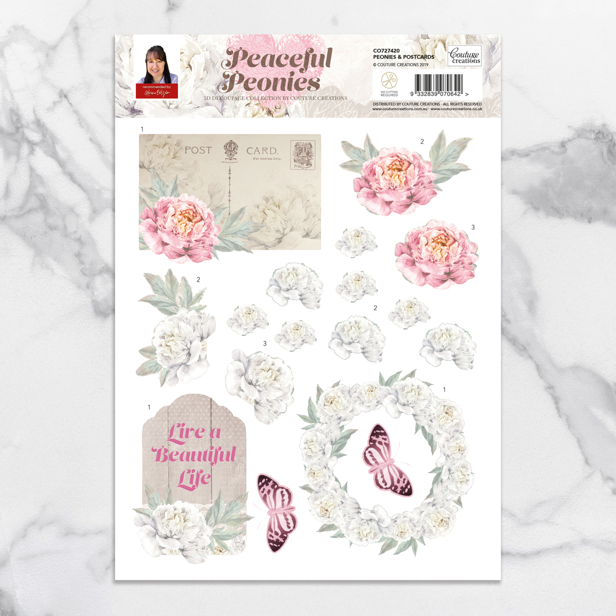 Couture Creations - Peaceful Peonies - Peonies & Postcards