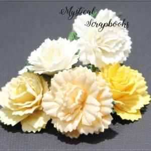 Mulberry Flowers - Carnations - Yellow/Cream