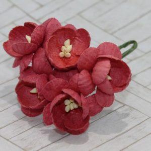 Mulberry Flowers - Cherry Blossom - Red Brick