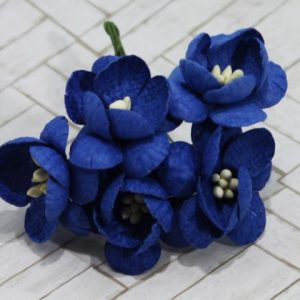 Mulberry Flowers - Cherry Blossom - Royal Blue