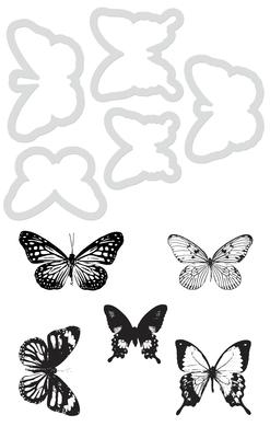 Kaisercraft Decorative Dies & Stamp - Butterflies