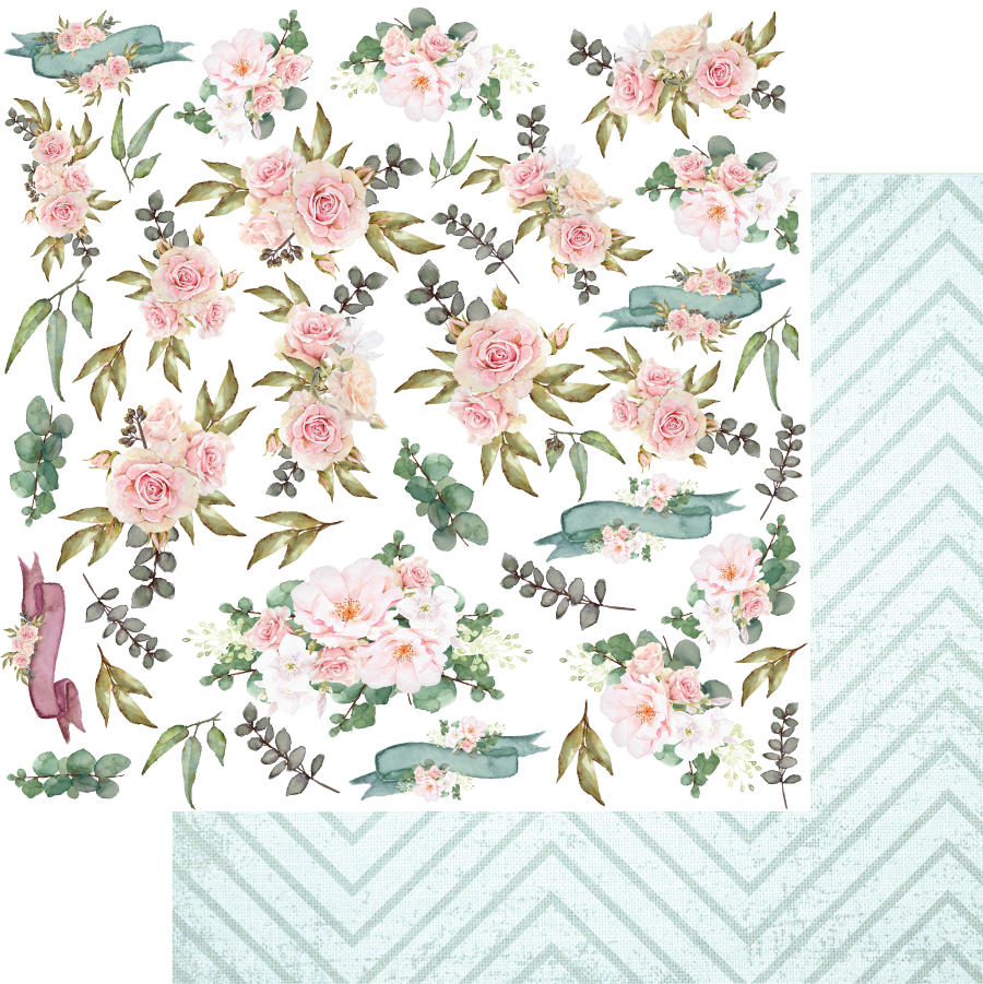Uniquely Creative - Gums & Roses - Fussy Cut Eucalypt Posey