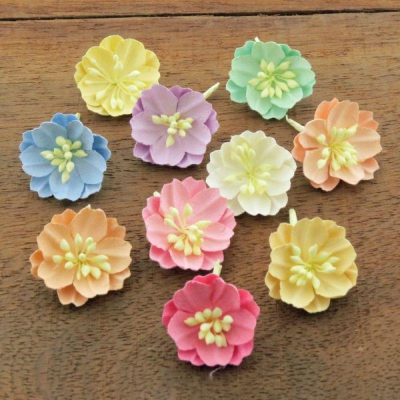 Mulberry Flowers - Cotton Stem Blossoms Set A