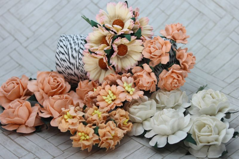 Mulberry Flowers - Mixed Bag - Set A Peach & White