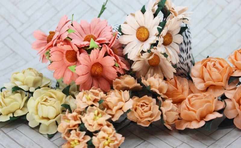 Mulberry Flowers - Mixed Bag - Set B Peach & Cream