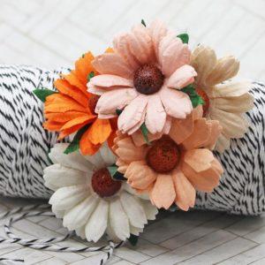Mulberry Flowers -Chrysanthemum Mixed Set - Peach/Orange/White