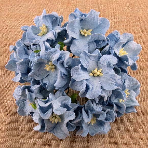 Mulberry Flowers - Gardenia - Med 3.5cm - Blue