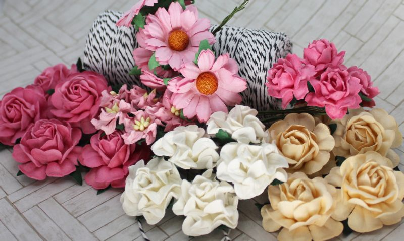 Mulberry Flowers - Mixed Bag - Set B Pink & White