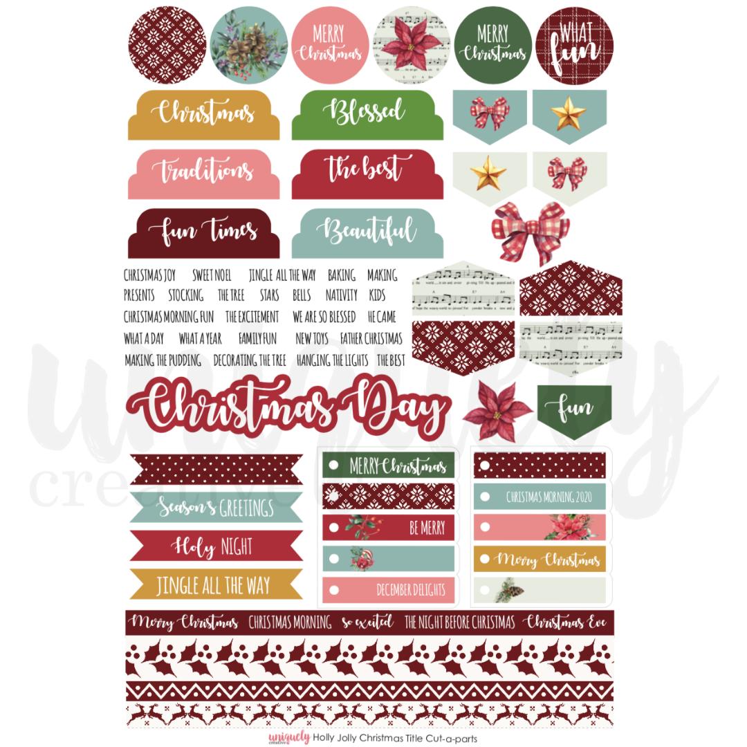 Uniquely Creative - Holly Jolly Christmas - Cut-a-Part Sheet