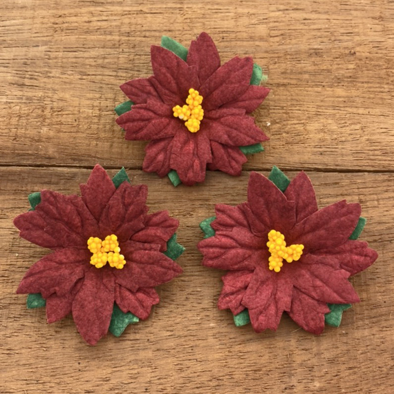 Mulberry Flowers - Poinsettia - Deep Red 50mm