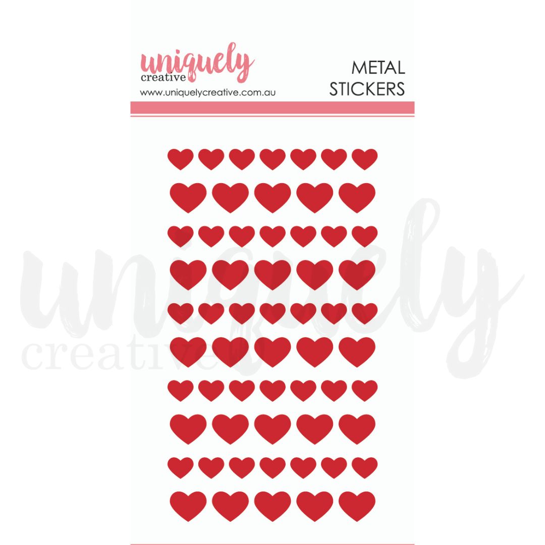 Uniquely Creative - Serendipity - Metal Stickers - Red Hearts