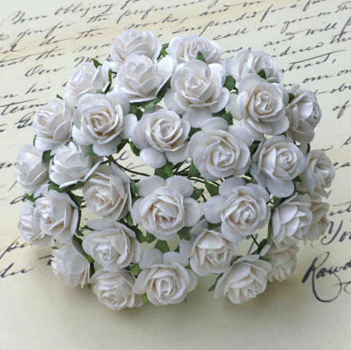 Mulberry Flofwer - Open Rose - White 10mm